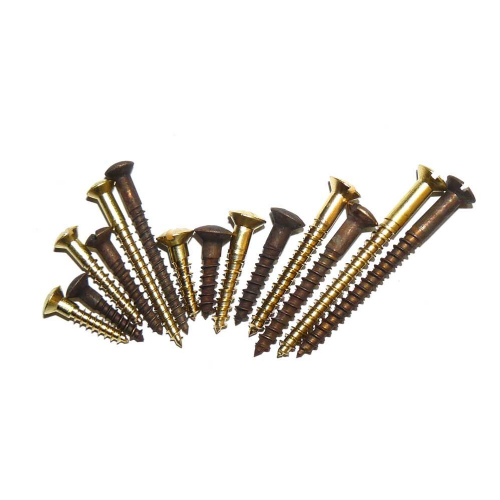 Solid Brass Countersunk Raised Head Slotted Woodscrews Raw or Antique Finish PKT  10
